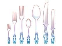 五颜六色的匙子刀子和叉子 库存照片