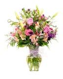 五颜六色的卖花人做的花的布置 免版税库存图片