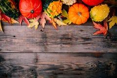 五颜六色的南瓜和秋天叶子在木背景 顶视图 库存图片