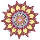 五颜六色的印度万花筒和说明上色坛场 库存例证