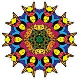 五颜六色的印度万花筒和说明上色坛场 皇族释放例证