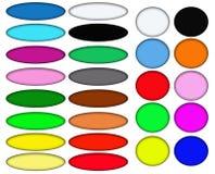 五颜六色的卵形和圆的万维网按钮 库存图片