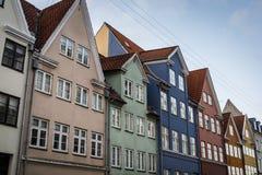 五颜六色的历史房子,哥本哈根,丹麦 免版税库存图片