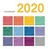 五颜六色的历年2020个传染媒介设计模板,简单和干净的设计 库存例证