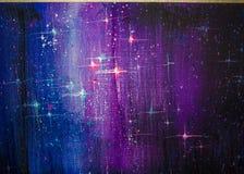 五颜六色的原始的抽象油画,背景满天星斗的天空 免版税库存图片