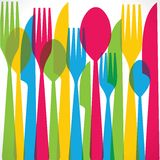 五颜六色的叉子背景 免版税库存照片