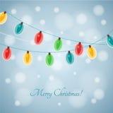 五颜六色的发光的圣诞灯 向量 免版税库存图片