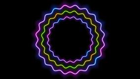五颜六色的发光的霓虹波浪圈子录影动画 库存例证