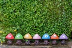 五颜六色的受欢迎的雕象蘑菇形状 库存照片