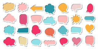 五颜六色的可笑的讲话泡影传染媒介集合动画片样式 向量例证