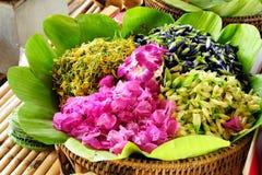 五颜六色的可食的花 免版税库存照片