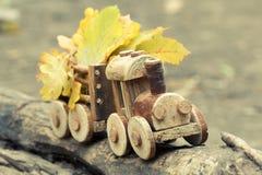 五颜六色的叶子背景和玩具火车 秋天10月或11月 库存图片