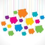 五颜六色的吊存钱罐背景设计 免版税库存照片
