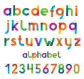 五颜六色的向量字体和数字。 免版税库存图片