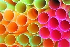 五颜六色的吸管特写镜头纹理。 图库摄影