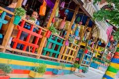 五颜六色的咖啡馆 免版税图库摄影
