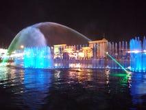 五颜六色的喷泉水 库存图片