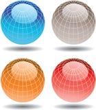 五颜六色的四个玻璃地球 库存照片