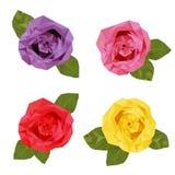 五颜六色的四朵玫瑰多角形 免版税库存图片