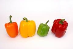五颜六色的四棵paprica蔬菜 免版税库存图片