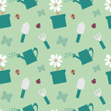五颜六色的园艺工具逗人喜爱的无缝的样式背景例证 库存照片