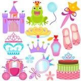 五颜六色的图标公主se集合美好的向量 免版税库存图片