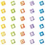 五颜六色的图标导航万维网 免版税图库摄影