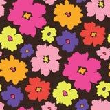 五颜六色的图表大规模花卉传染媒介无缝的样式背景 皇族释放例证