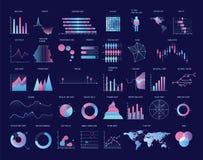 五颜六色的图,图,图表,各种各样的类型剧情的汇集  统计数字和财政信息 皇族释放例证