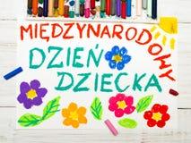 五颜六色的图画:波兰儿童` s天卡片 免版税库存图片