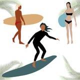 五颜六色的图sihouettes海浪 免版税库存图片
