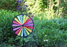 五颜六色的圆的别针把与columbines的花床引入 免版税库存图片