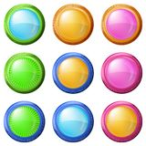 五颜六色的圆的按钮,集合 库存照片