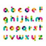 五颜六色的圆的现代字体标志 拉丁装饰字母表 库存例证
