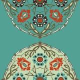 五颜六色的圆的花卉边界角落背景 免版税库存照片