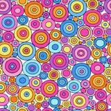 五颜六色的圈子无缝的几何模式 免版税库存照片