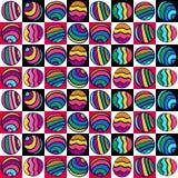 五颜六色的圈子的无缝的样式在色的正方形的,手拉 夏天背景 免版税库存照片