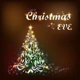 五颜六色的圣诞树和发光的光在布朗背景 向量例证