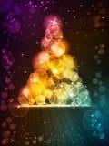 五颜六色的圣诞树由光点做成 库存图片
