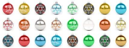 五颜六色的圣诞节中看不中用的物品汇集3D翻译 免版税库存照片