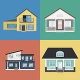 五颜六色的在平的样式的家外部设计收藏 库存图片