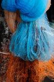 五颜六色的在泰国和亚洲c的渔尼龙净渔工具 库存照片