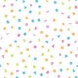 五颜六色的在白色背景的信件无缝的样式 免版税库存照片
