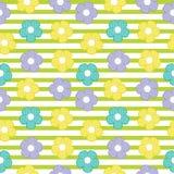 五颜六色的在镶边背景的花无缝的样式婴孩的给背景穿衣 库存照片