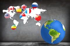 五颜六色的地球和地图在灰色屋子 库存例证