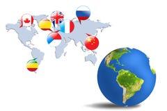 五颜六色的地球和地图在灰色屋子 向量例证
