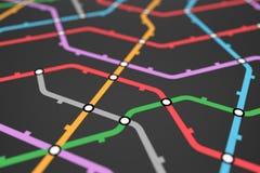 五颜六色的地铁计划、铁路运输或者城市公共汽车地图 向量例证
