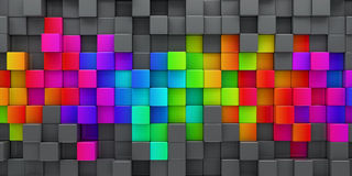 五颜六色的块抽象背景彩虹  免版税图库摄影