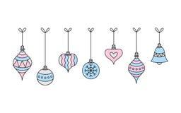 五颜六色的垂悬的圣诞节球传染媒介 库存例证