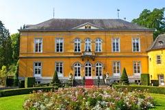 五颜六色的城堡东部在旅游胜地Valkenburg 库存图片